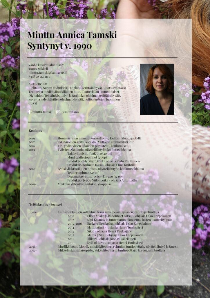 Minttu Tamski CV 2020